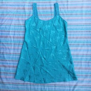 Vintage Mint Rose Pattern Satin Camisole